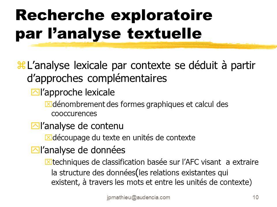 Recherche exploratoire par l'analyse textuelle