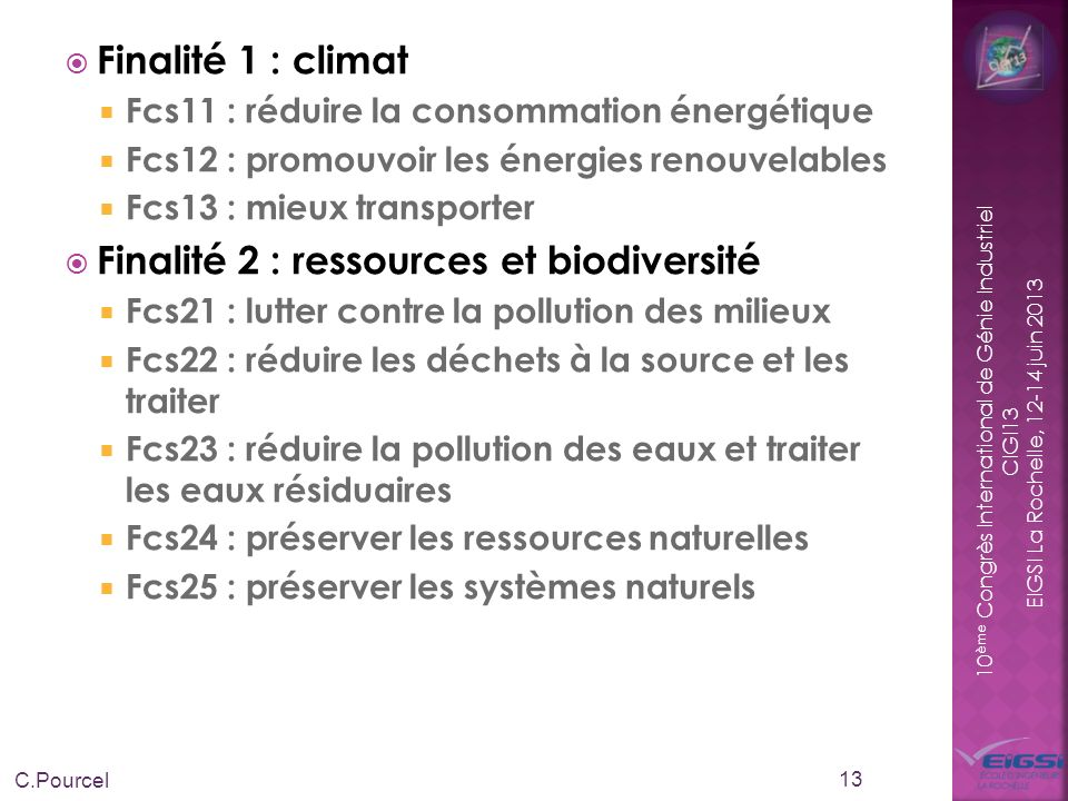 Finalité 2 : ressources et biodiversité