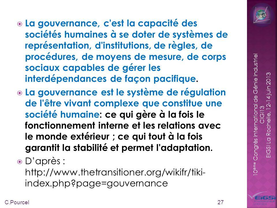 La gouvernance, c est la capacité des sociétés humaines à se doter de systèmes de représentation, d institutions, de règles, de procédures, de moyens de mesure, de corps sociaux capables de gérer les interdépendances de façon pacifique.