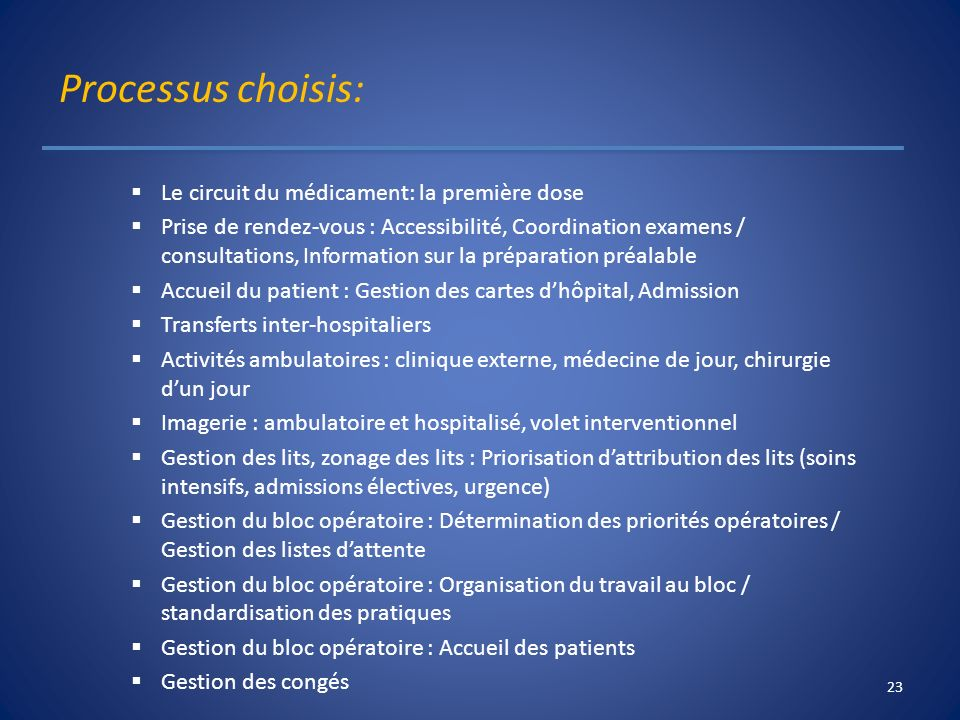 Processus choisis: Le circuit du médicament: la première dose