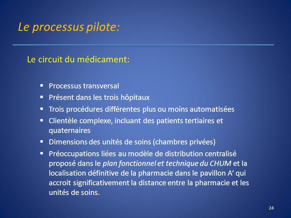 Le processus pilote: Le circuit du médicament: Processus transversal
