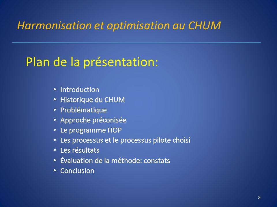 Harmonisation et optimisation au CHUM