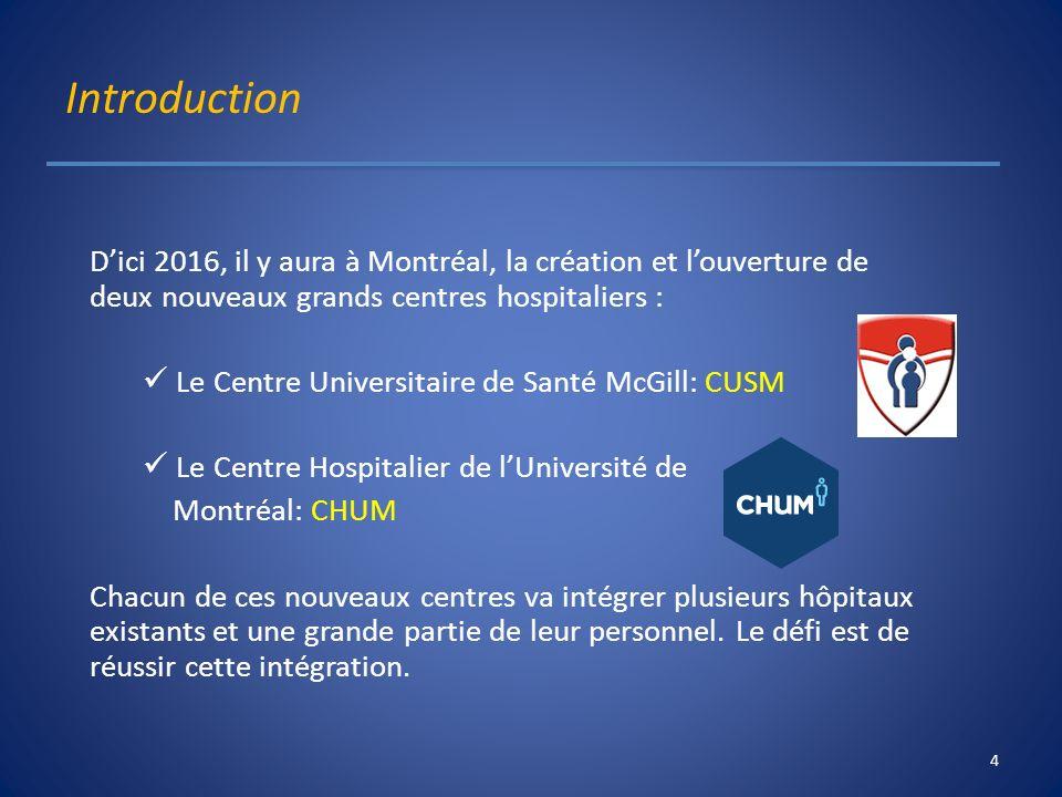 Introduction D'ici 2016, il y aura à Montréal, la création et l'ouverture de deux nouveaux grands centres hospitaliers :
