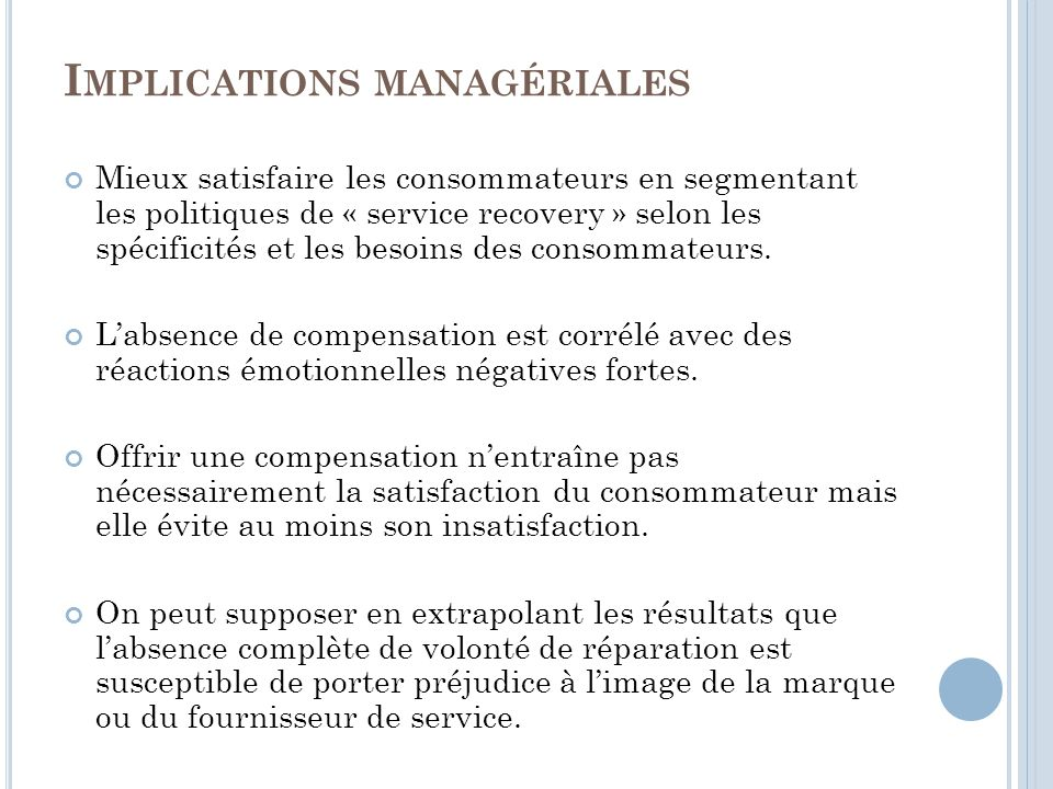 Implications managériales