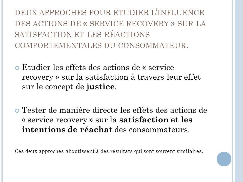 deux approches pour étudier l'influence des actions de « service recovery » sur la satisfaction et les réactions comportementales du consommateur.