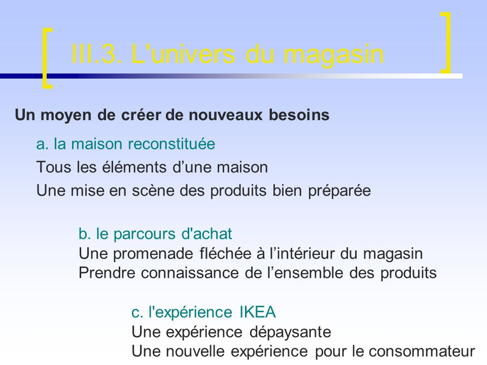 III.3. L univers du magasin
