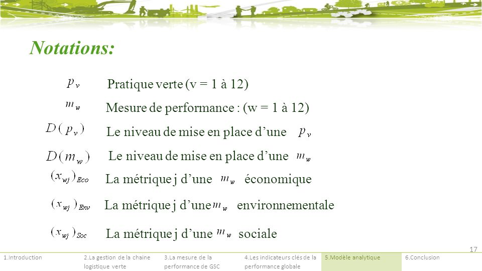 Notations: Pratique verte (v = 1 à 12)