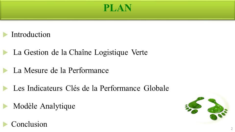 PLAN Introduction La Gestion de la Chaîne Logistique Verte