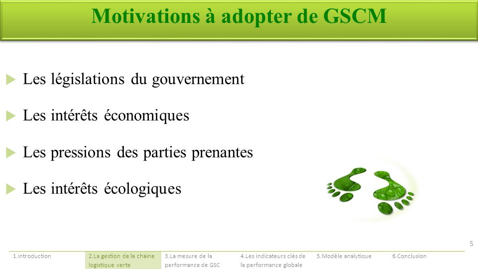 Motivations à adopter de GSCM