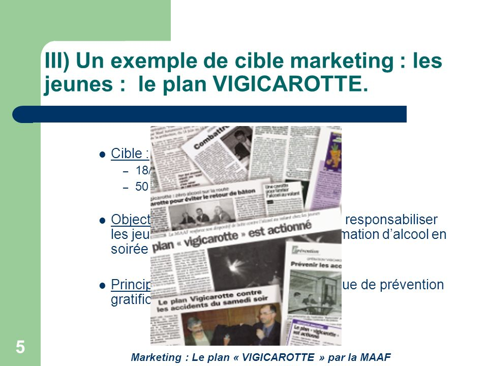 III) Un exemple de cible marketing : les jeunes : le plan VIGICAROTTE.
