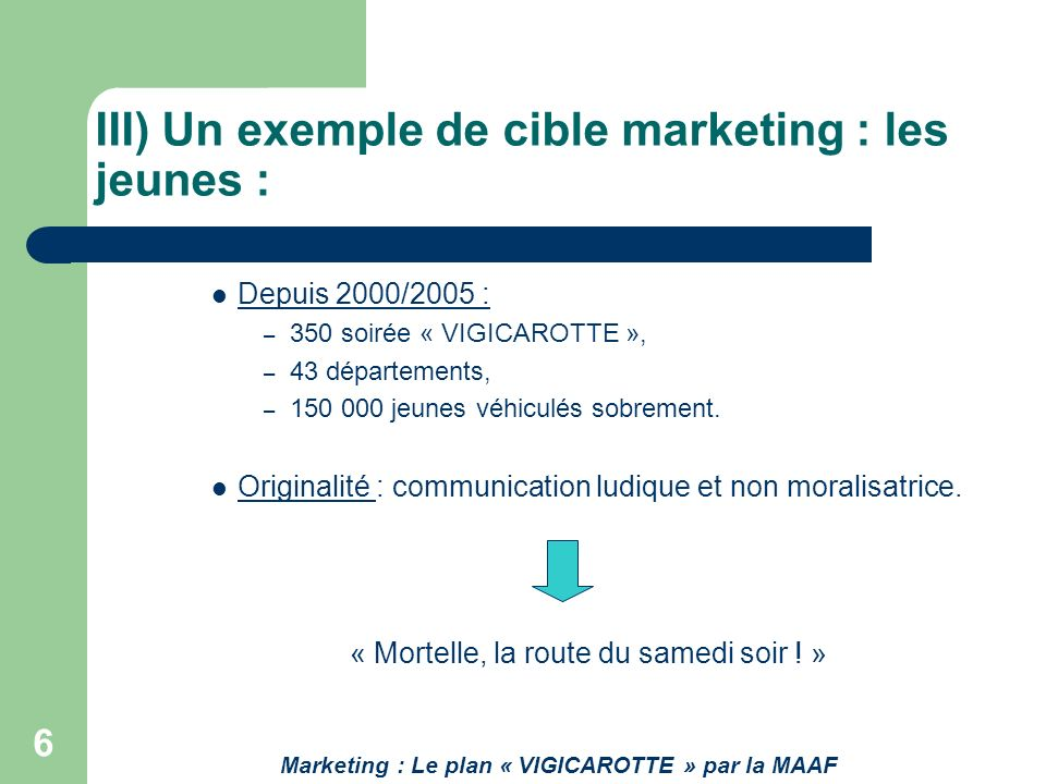 III) Un exemple de cible marketing : les jeunes :