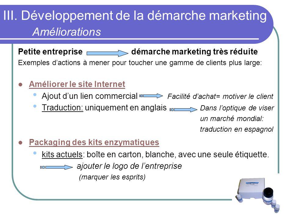 III. Développement de la démarche marketing Améliorations