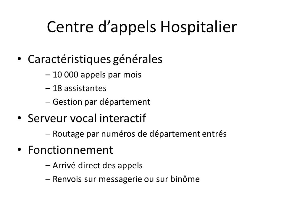 Centre d'appels Hospitalier