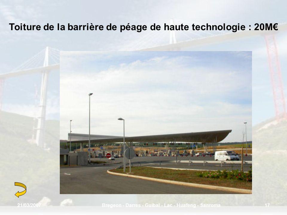 Toiture de la barrière de péage de haute technologie : 20M€
