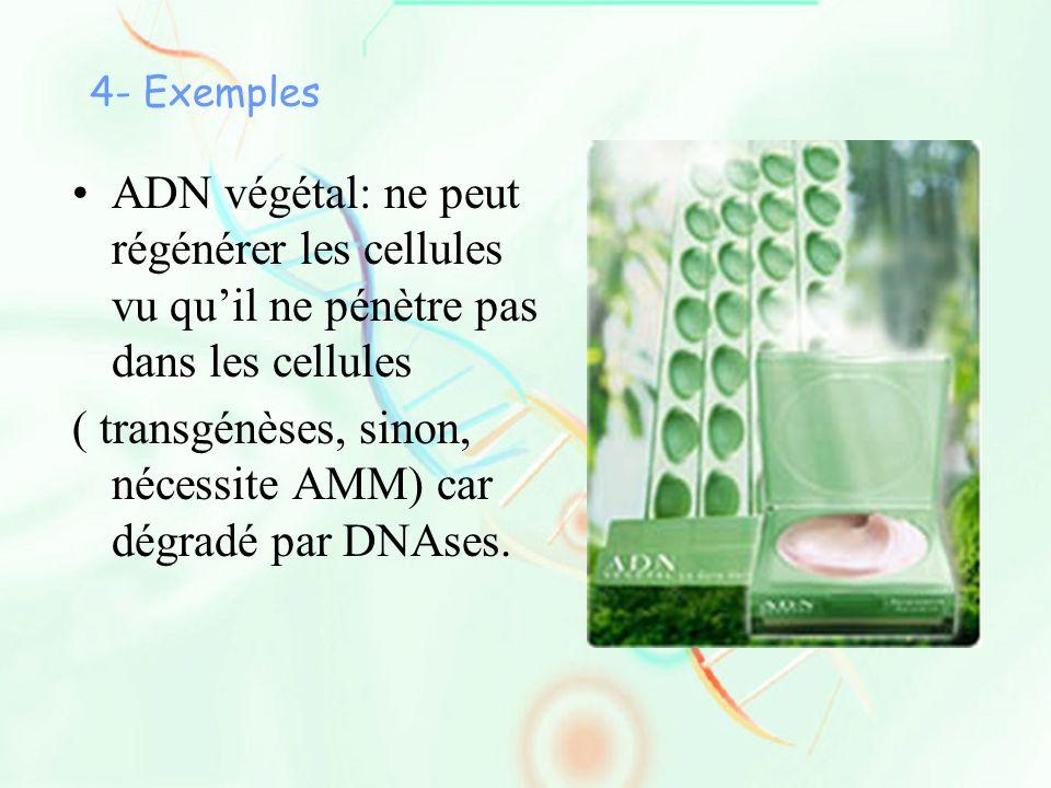 ( transgénèses, sinon, nécessite AMM) car dégradé par DNAses.