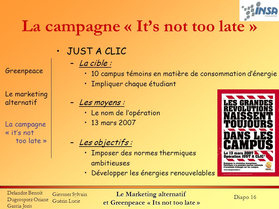 La campagne « It's not too late »