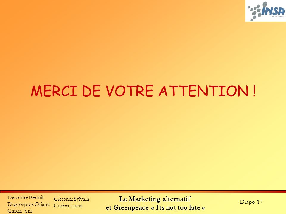 Le Marketing alternatif et Greenpeace « Its not too late »