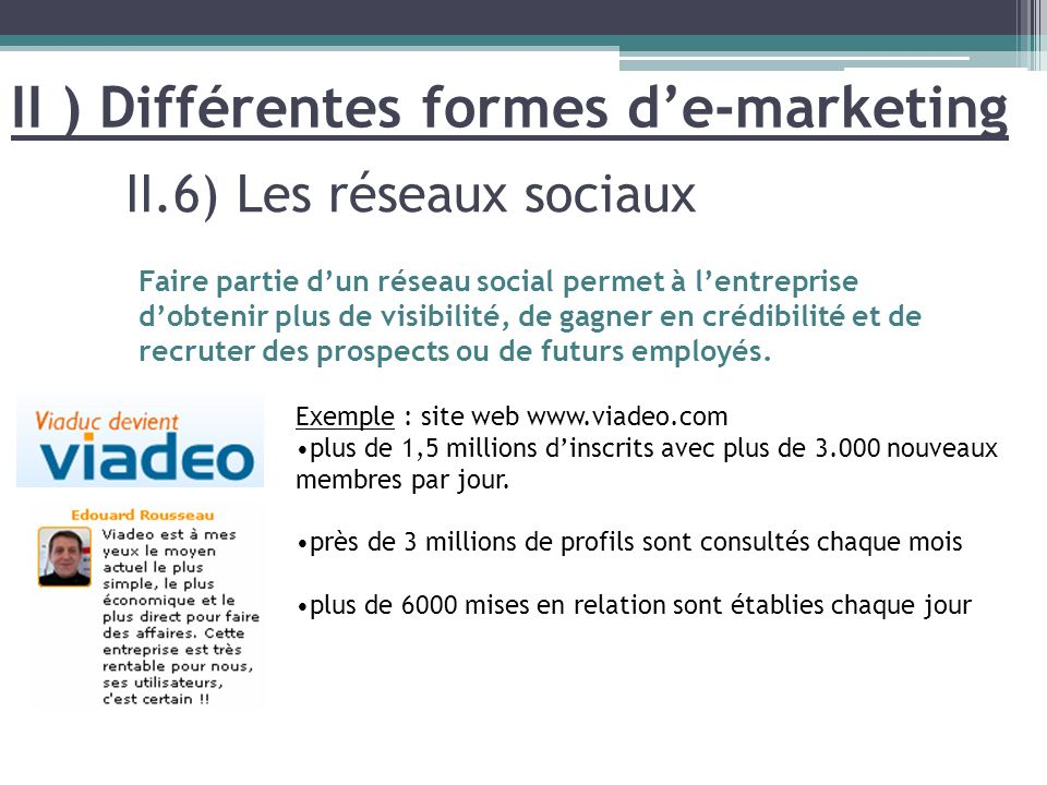 II ) Différentes formes d'e-marketing