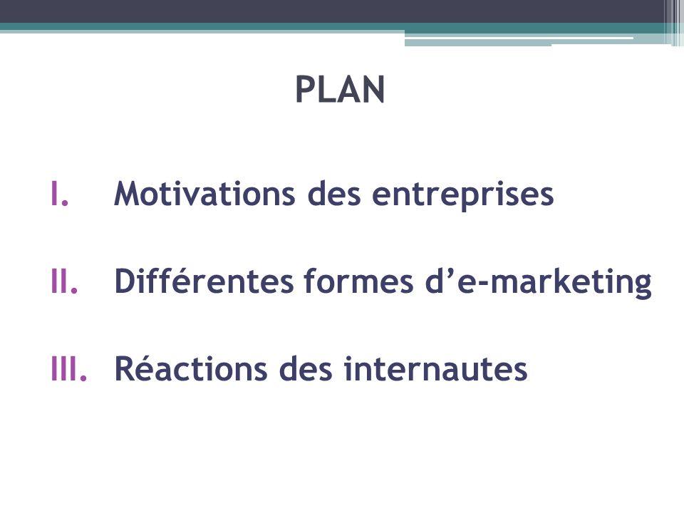 PLAN Motivations des entreprises Différentes formes d'e-marketing