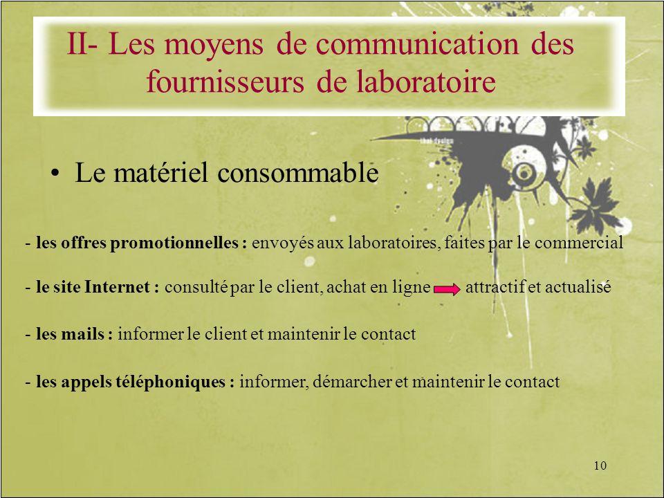II- Les moyens de communication des fournisseurs de laboratoire