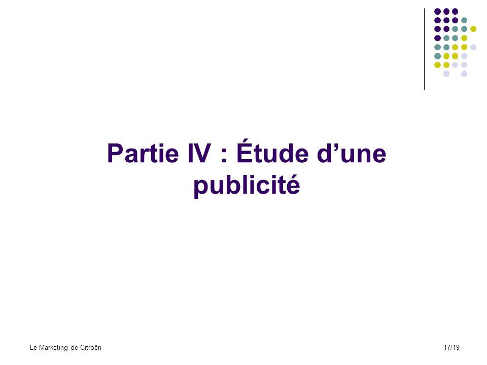 Partie IV : Étude d'une publicité