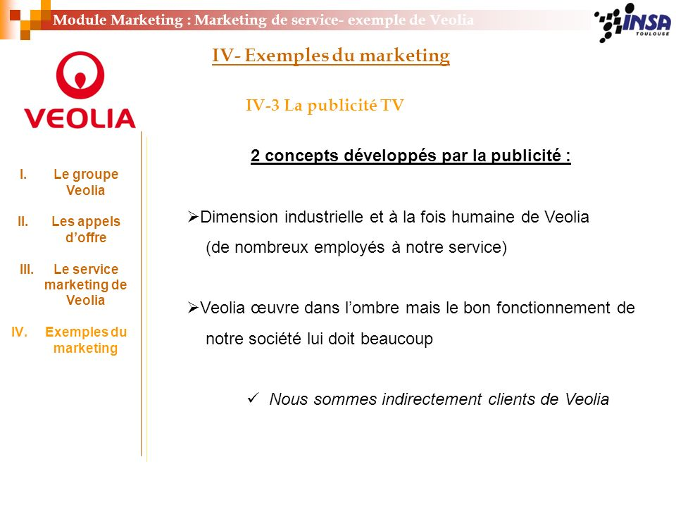 IV- Exemples du marketing