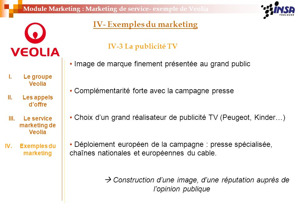 Le service marketing de Veolia