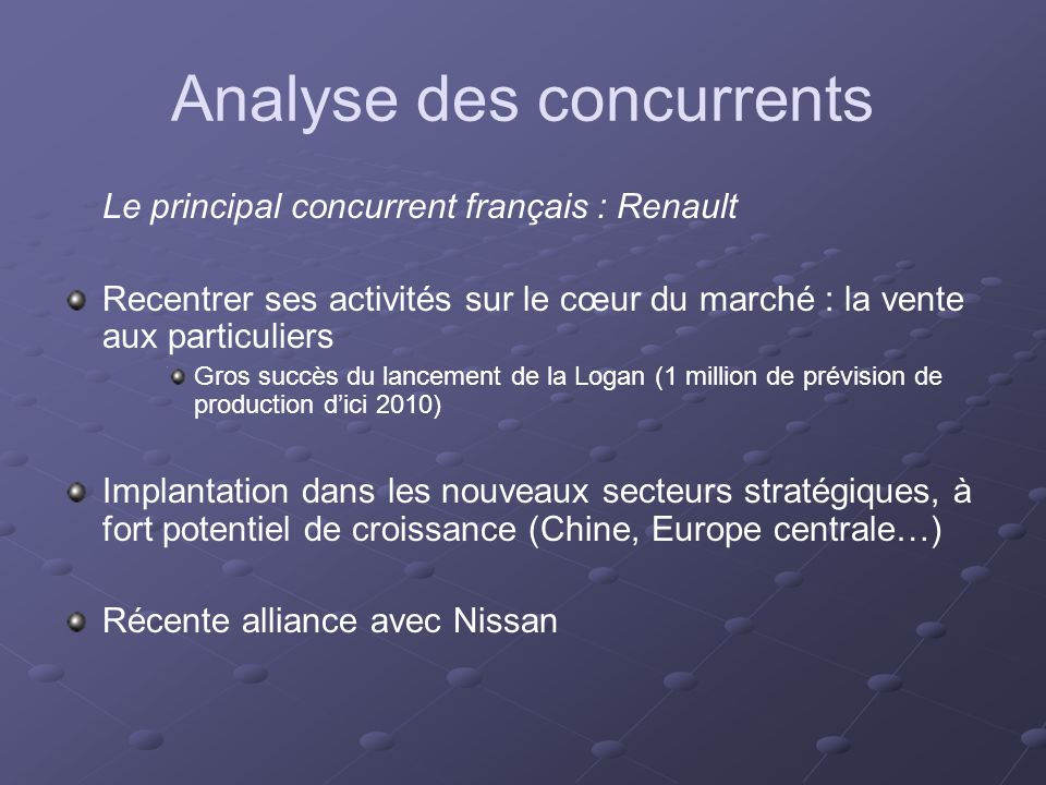Analyse des concurrents