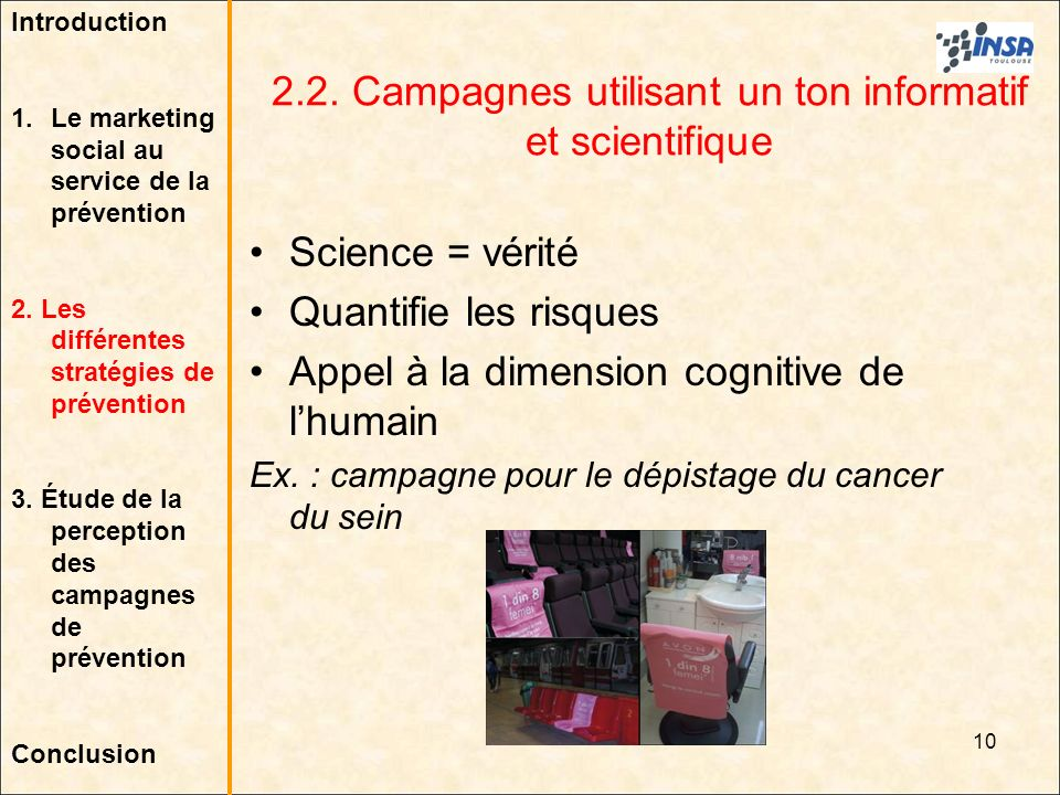 2.2. Campagnes utilisant un ton informatif et scientifique