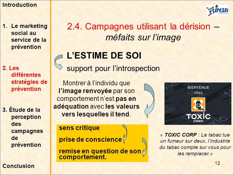 2.4. Campagnes utilisant la dérision – méfaits sur l'image