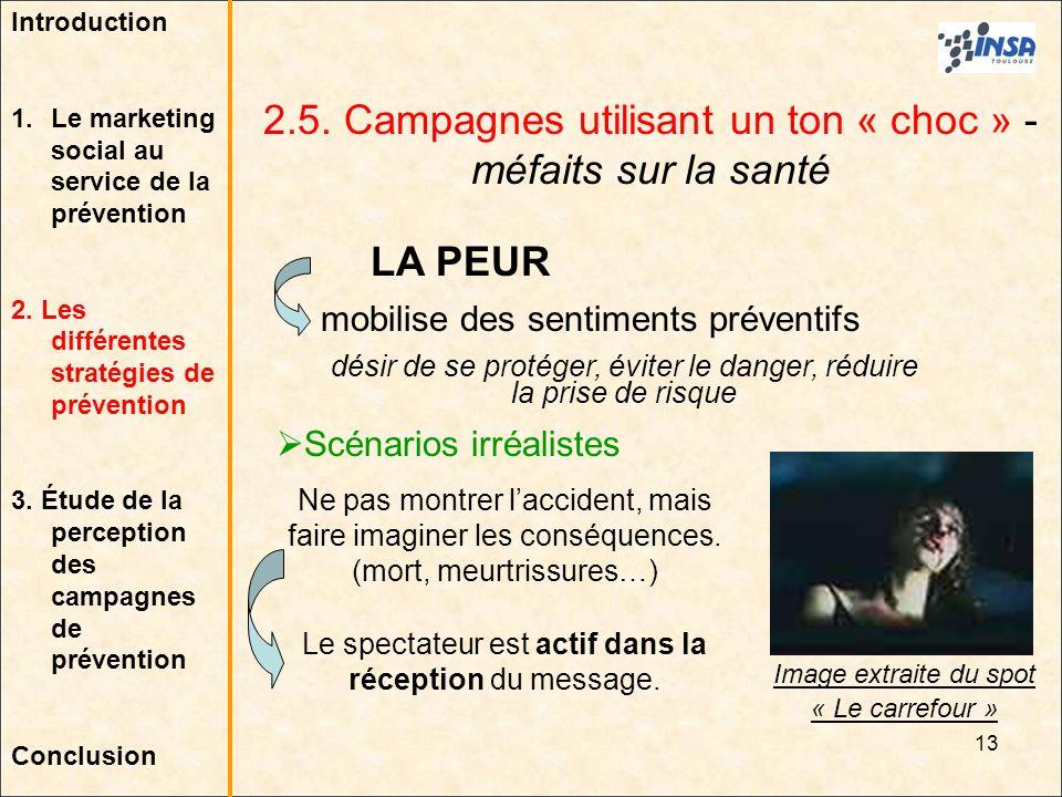 2.5. Campagnes utilisant un ton « choc » - méfaits sur la santé