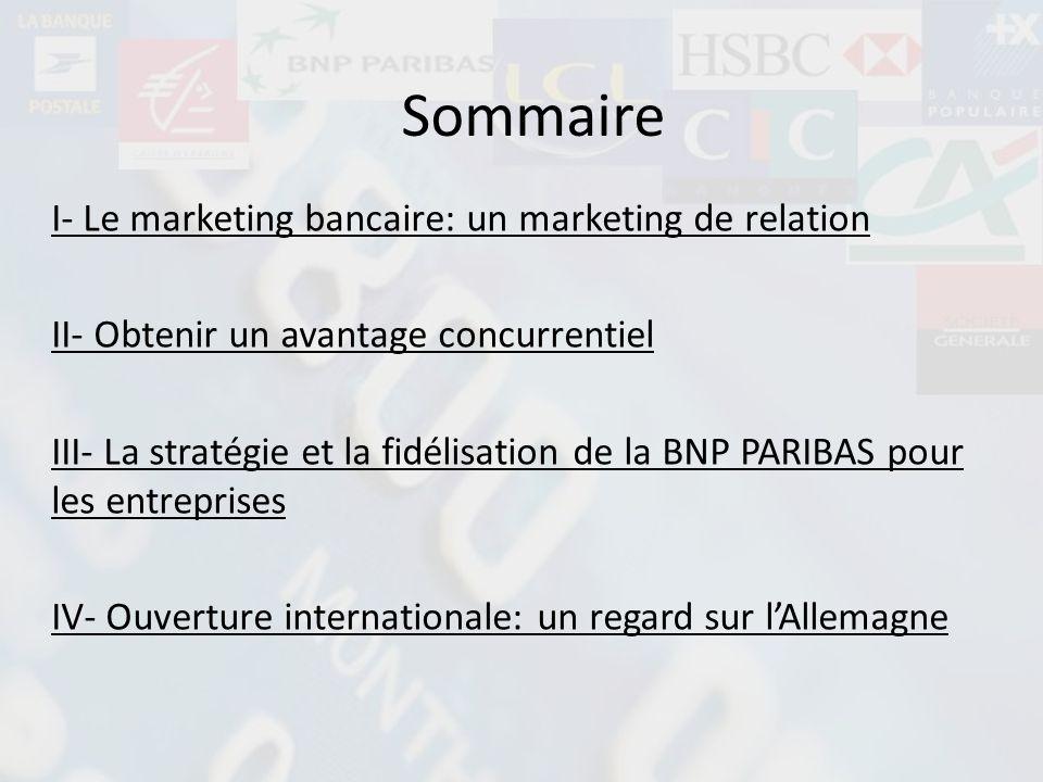 Sommaire I- Le marketing bancaire: un marketing de relation