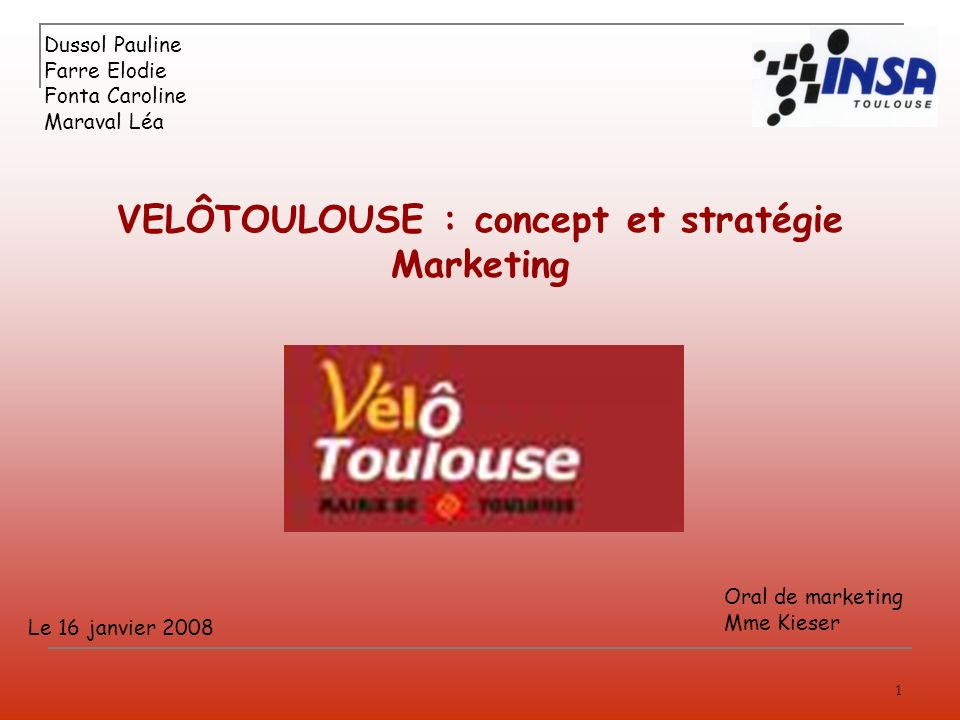 VELÔTOULOUSE : concept et stratégie Marketing