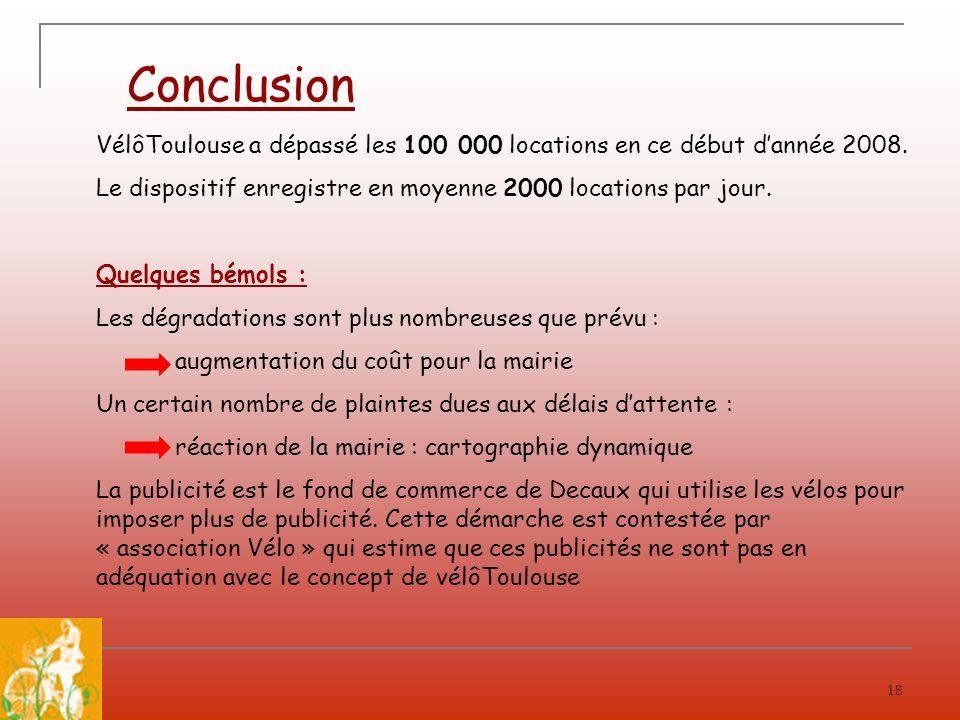 Conclusion VélôToulouse a dépassé les 100 000 locations en ce début d'année 2008. Le dispositif enregistre en moyenne 2000 locations par jour.