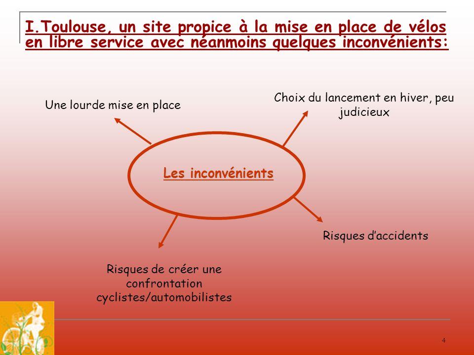 I.Toulouse, un site propice à la mise en place de vélos en libre service avec néanmoins quelques inconvénients: