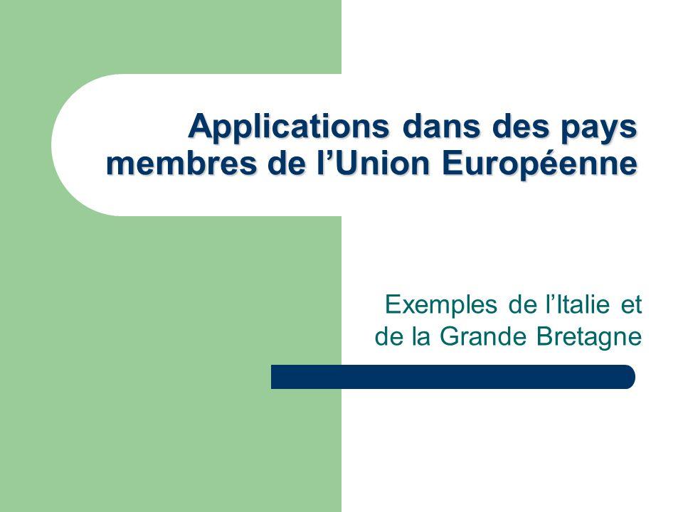 Applications dans des pays membres de l'Union Européenne