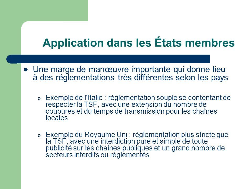 Application dans les États membres