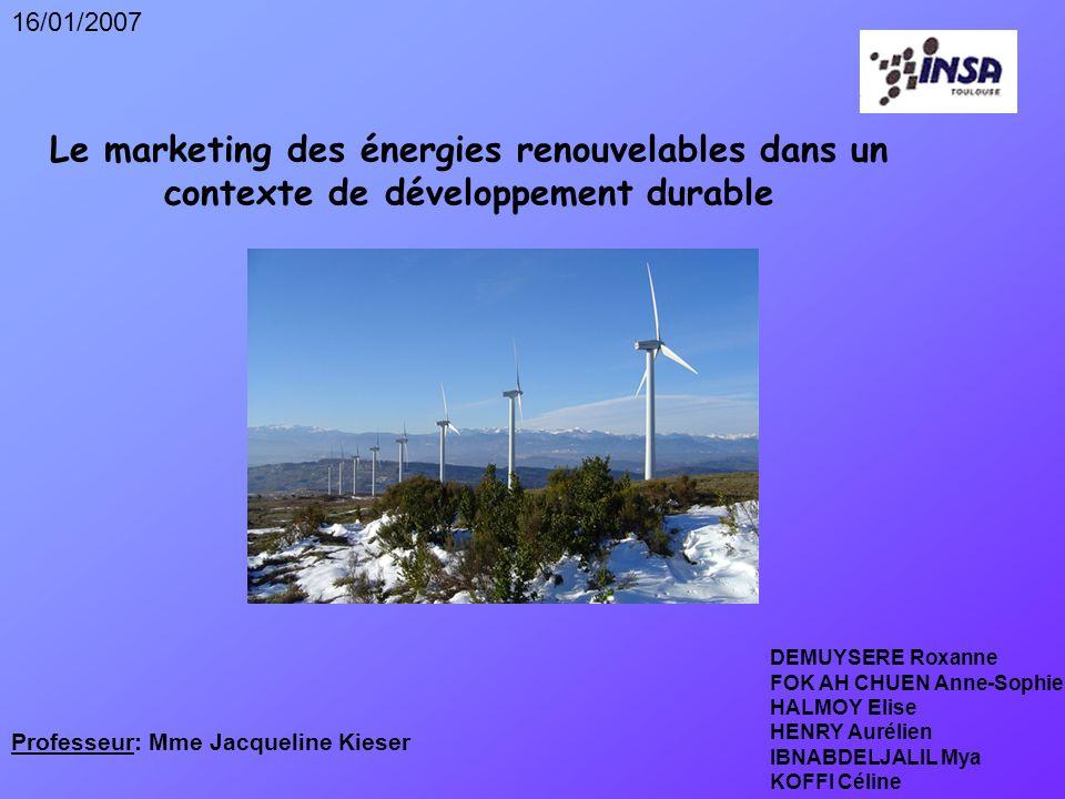 16/01/2007 Le marketing des énergies renouvelables dans un contexte de développement durable. DEMUYSERE Roxanne.