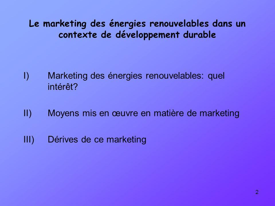 Le marketing des énergies renouvelables dans un contexte de développement durable