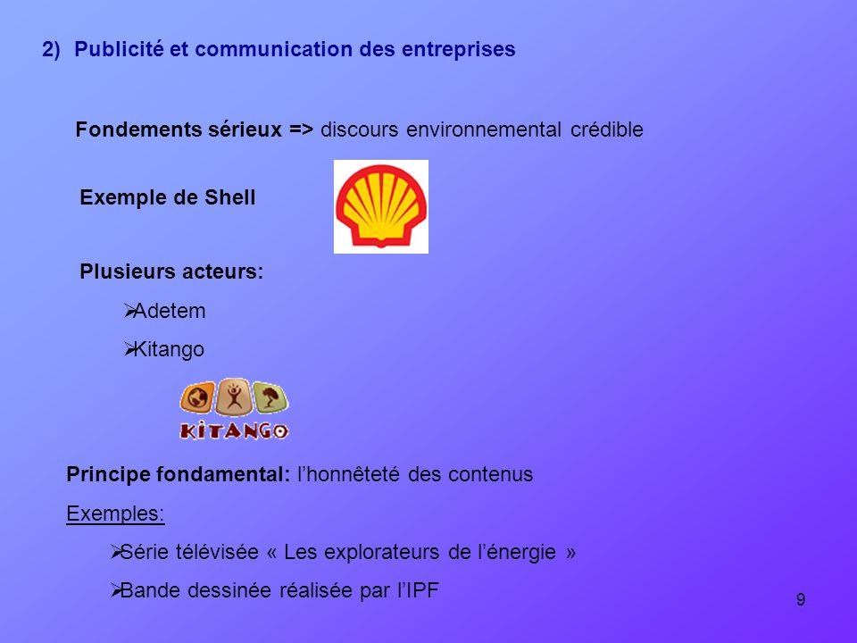 2) Publicité et communication des entreprises