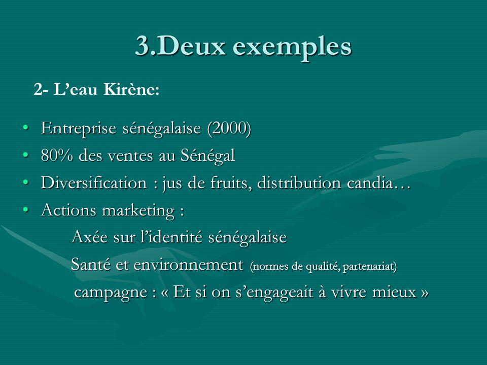 3.Deux exemples 2- L'eau Kirène: Entreprise sénégalaise (2000)