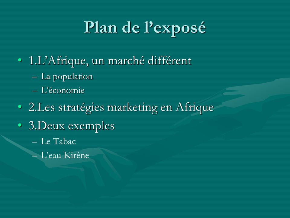 Plan de l'exposé 1.L'Afrique, un marché différent