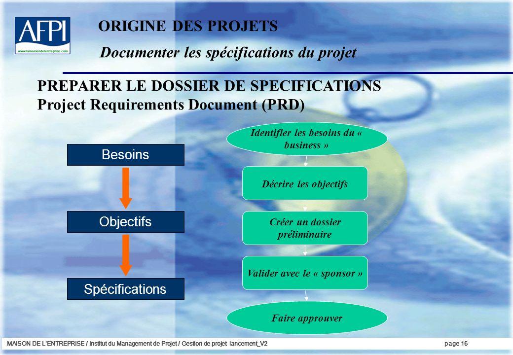 Documenter les spécifications du projet