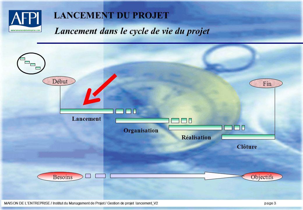 Lancement dans le cycle de vie du projet