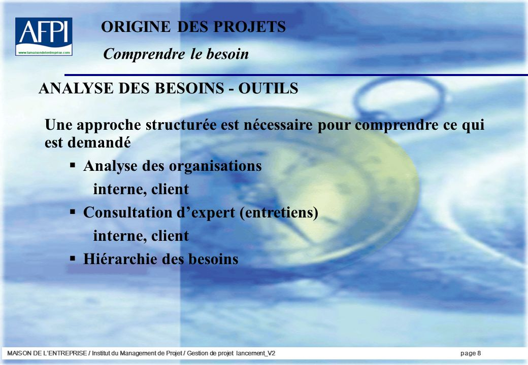 ANALYSE DES BESOINS - OUTILS