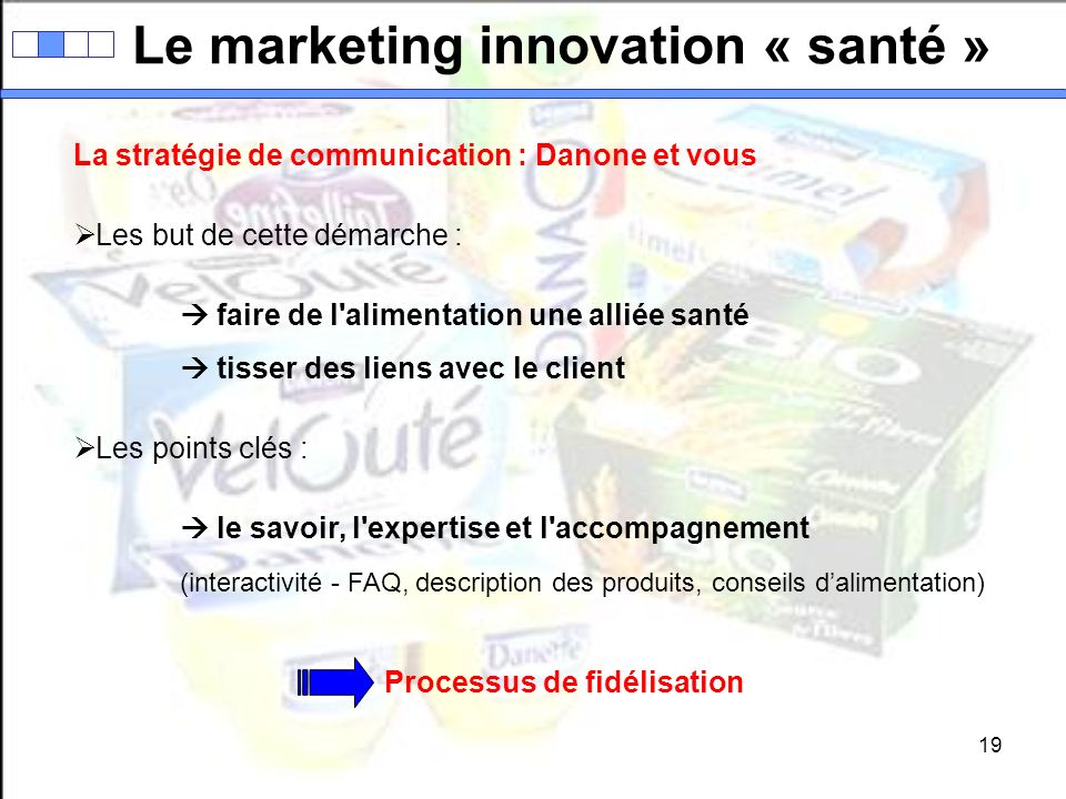 Le marketing innovation « santé » Processus de fidélisation