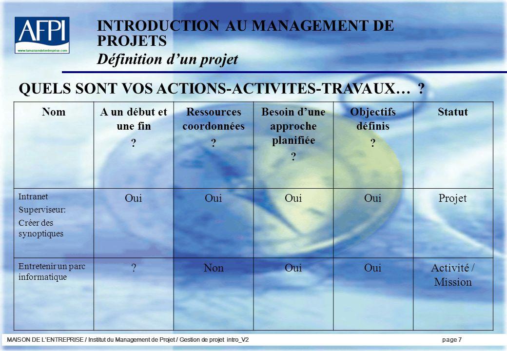 Ressources coordonnées Besoin d'une approche planifiée