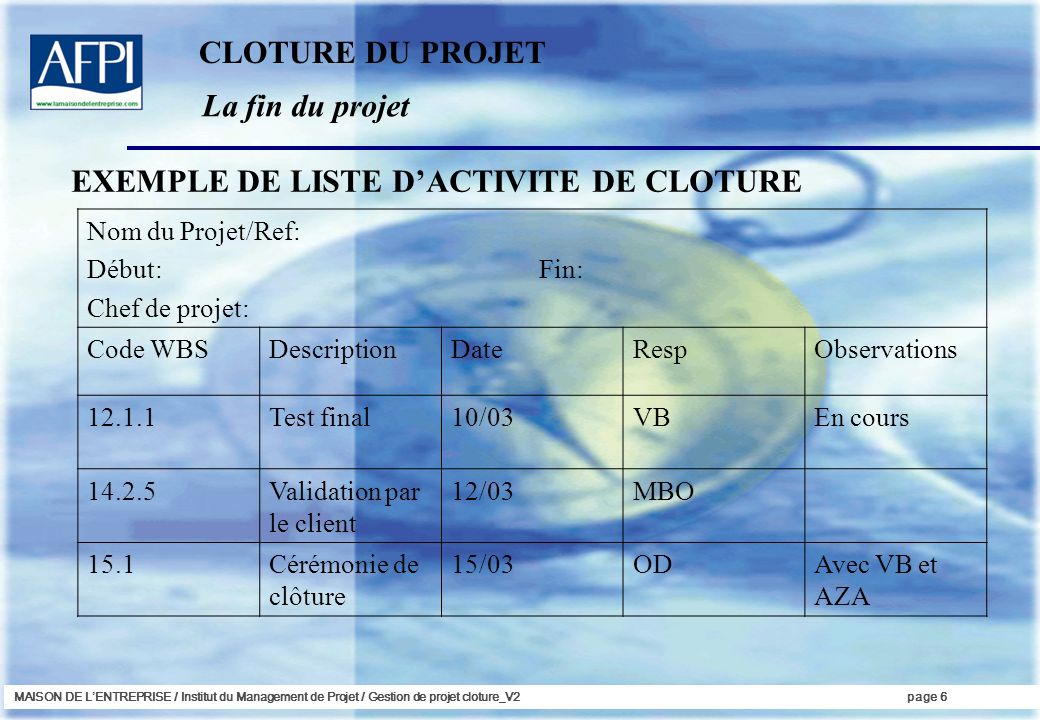 EXEMPLE DE LISTE D'ACTIVITE DE CLOTURE