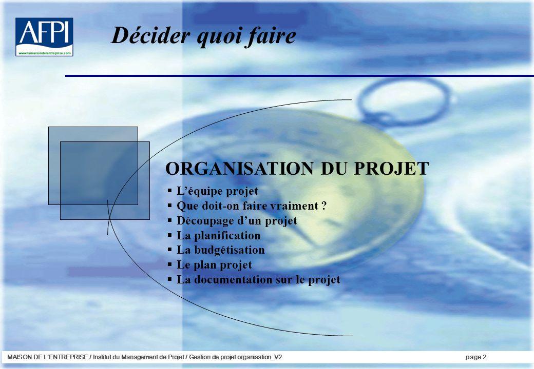 Décider quoi faire ORGANISATION DU PROJET L'équipe projet