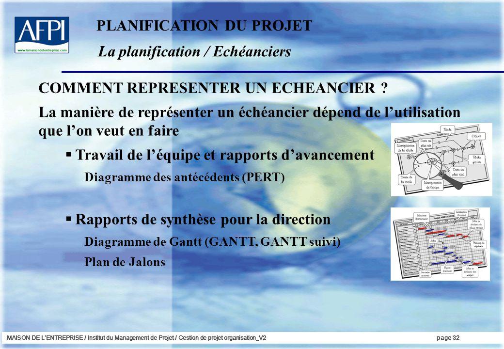 PLANIFICATION DU PROJET La planification / Echéanciers